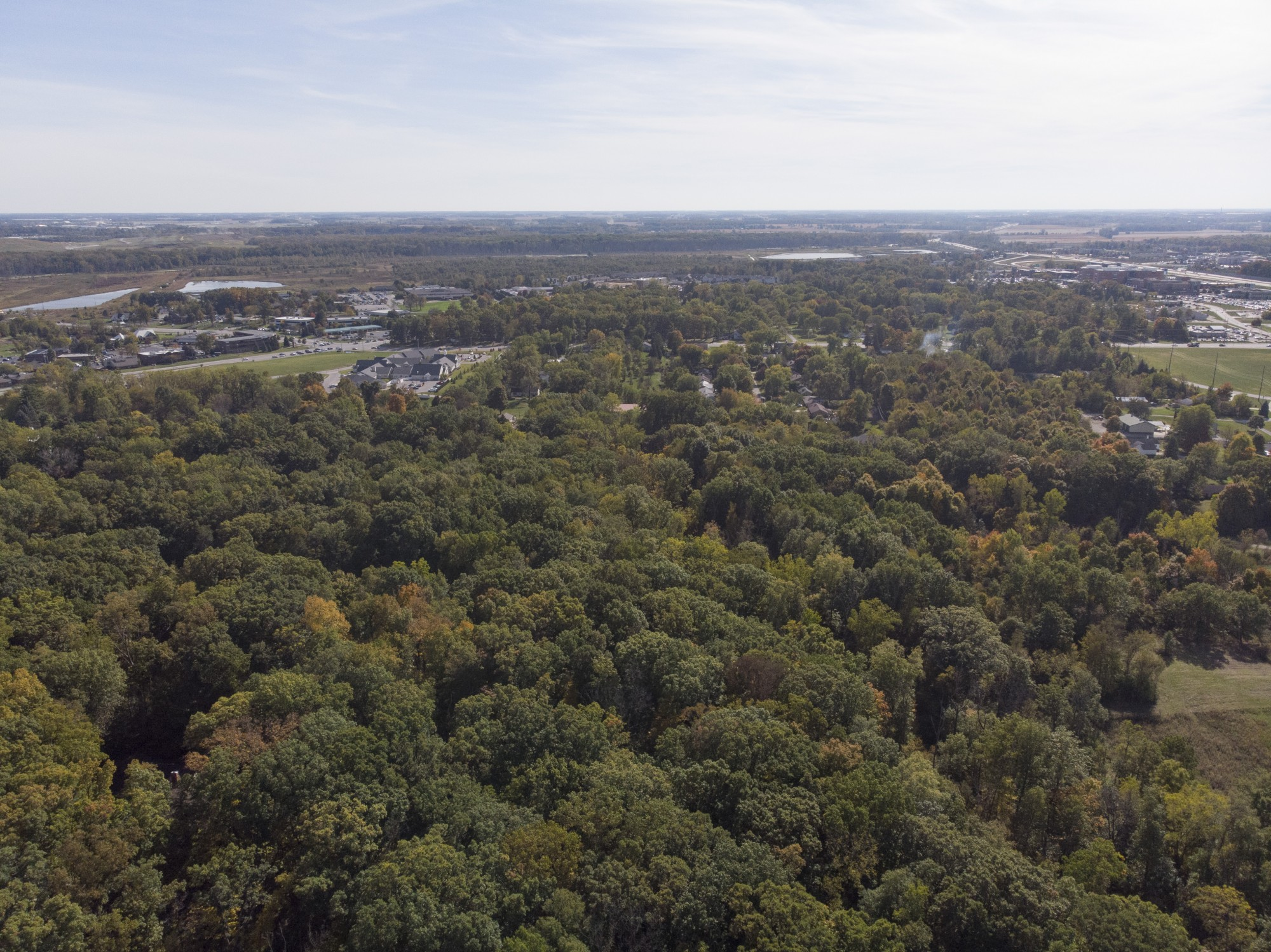 Drone photo of 44 acre site on Aboite Center Rd and Dicke Rd