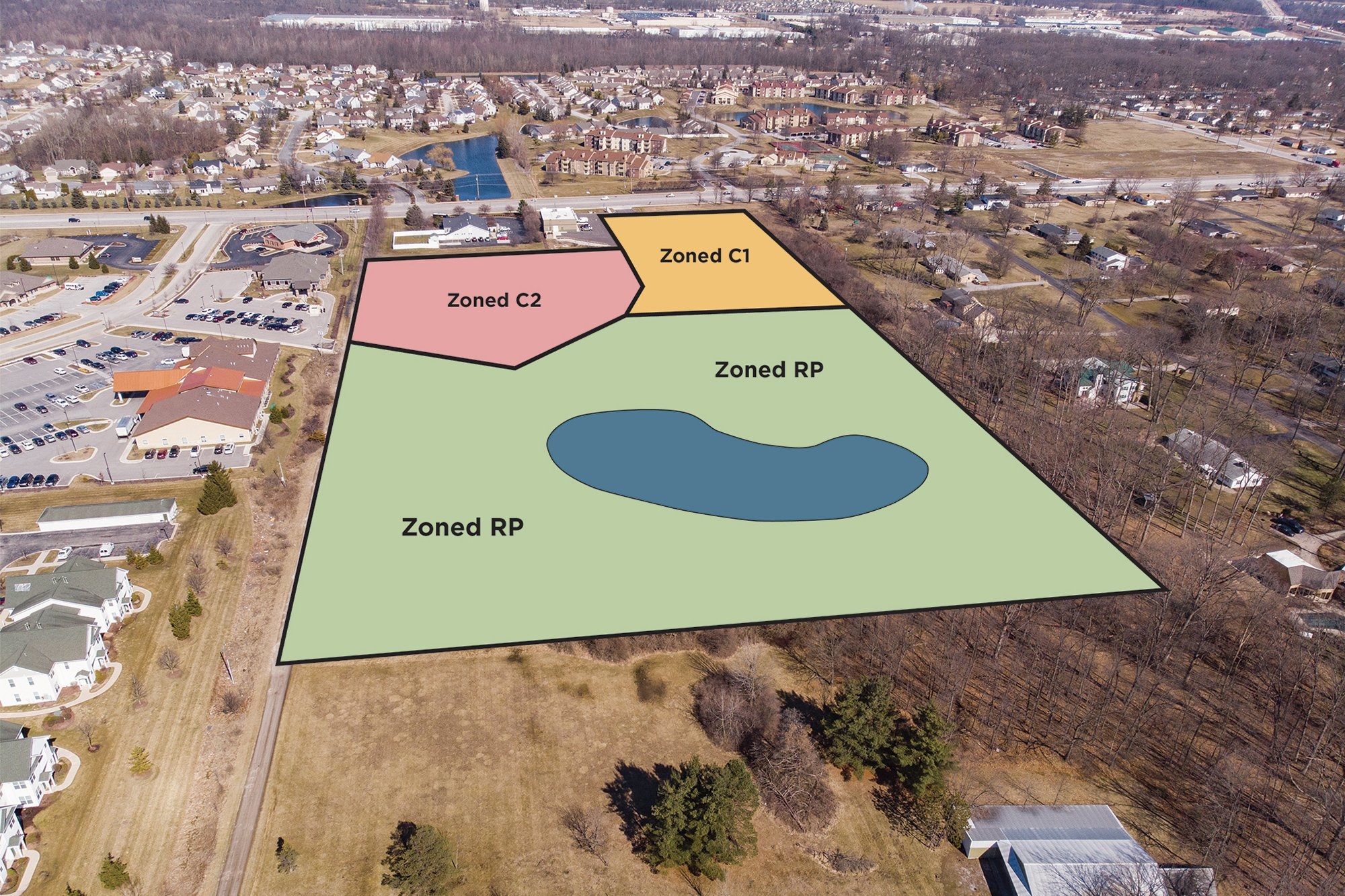 Aerial photo with highlighted areas of four recently rezoned lots on Illinois Road