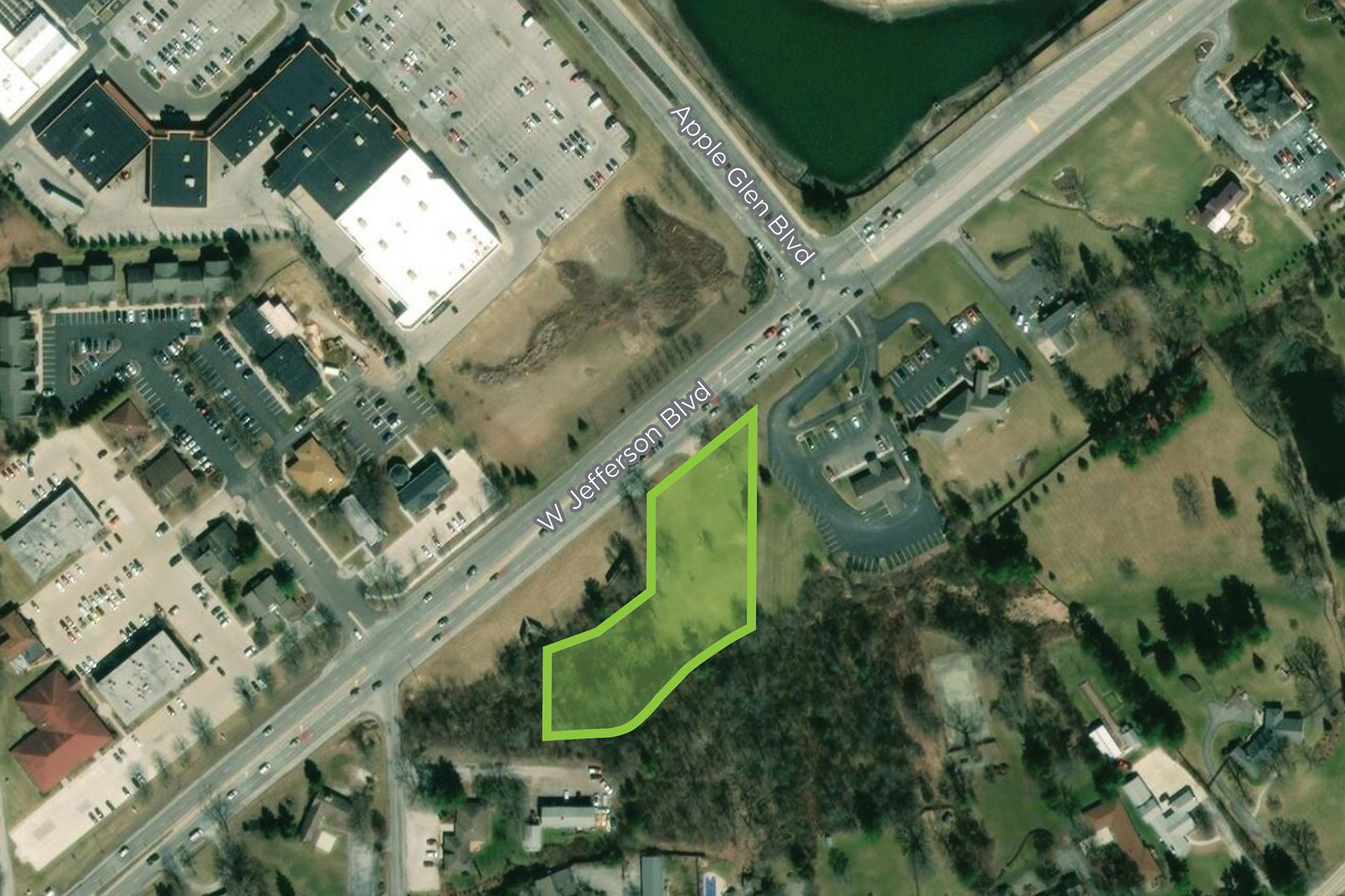 Site plan of 1.6 acres of land for sale on busy West Jefferson Boulevard and across from Jefferson Pointe and Apple Glen.